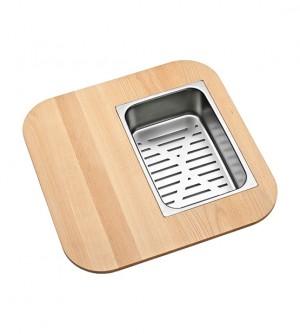 Wooden cutting board plus colander